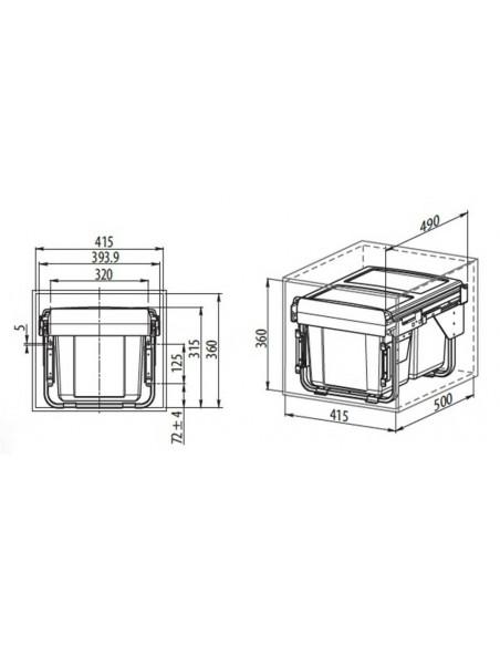 GTV Odpadkový kôš - výsuvný, 2x15l 450mm
